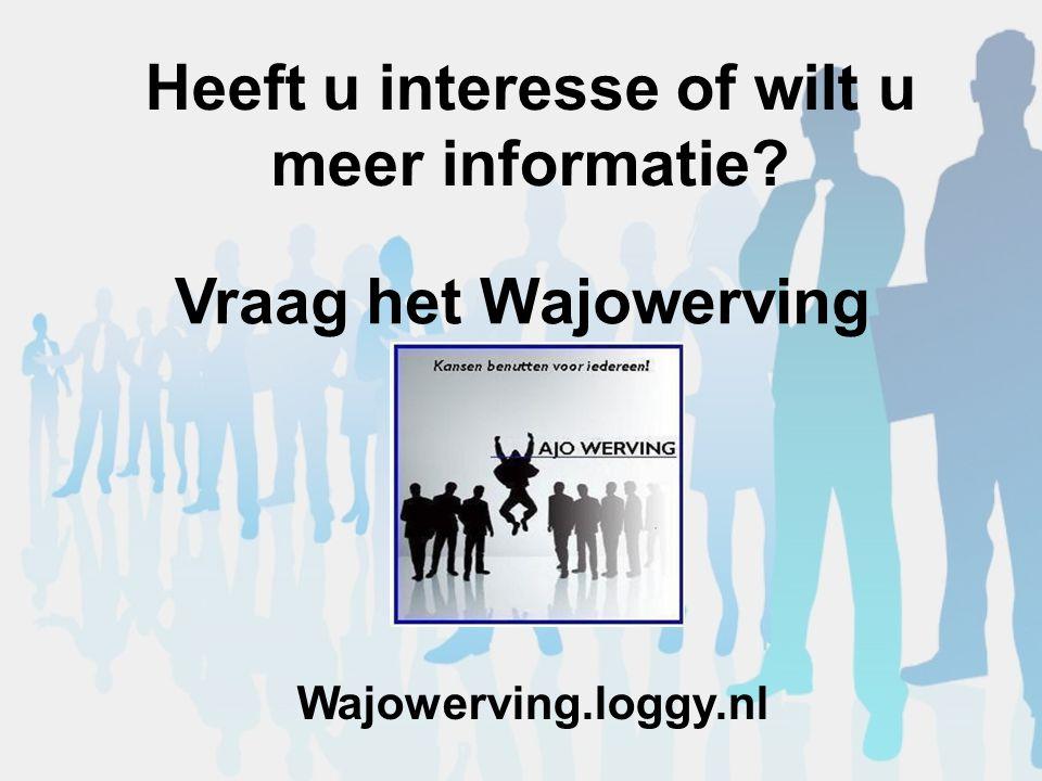 Heeft u interesse of wilt u meer informatie Vraag het Wajowerving Wajowerving.loggy.nl