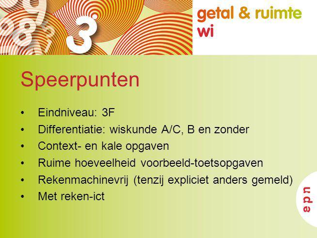 Speerpunten Eindniveau: 3F Differentiatie: wiskunde A/C, B en zonder Context- en kale opgaven Ruime hoeveelheid voorbeeld-toetsopgaven Rekenmachinevri