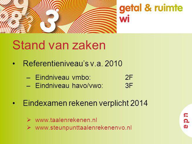 Stand van zaken Referentieniveau's v.a. 2010 –Eindniveau vmbo: 2F –Eindniveau havo/vwo:3F Eindexamen rekenen verplicht 2014  www.taalenrekenen.nl  w