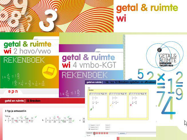 Rekenlijn getal & ruimte LeerjaarRekenboeken & digitaal rekenmateriaal 1 1BK1KGT1TH1HV1V 2 2BK2KGT2TH2HV2V 3 3B3K3KGT3H3V 4 4B4K4KGT Rekenboek Tweede Fase 5 6 Eindniveau 2F 2F/(2S)3F/(3S)