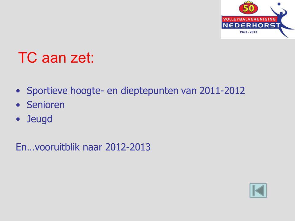 TC aan zet: Sportieve hoogte- en dieptepunten van 2011-2012 Senioren Jeugd En…vooruitblik naar 2012-2013