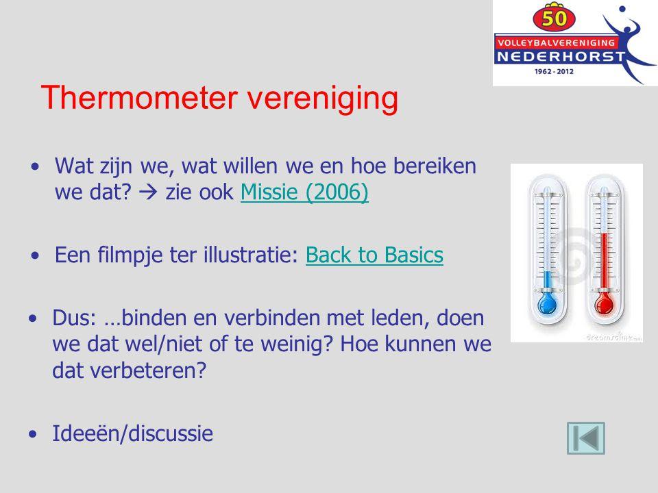 Thermometer vereniging Wat zijn we, wat willen we en hoe bereiken we dat?  zie ook Missie (2006)Missie (2006) Een filmpje ter illustratie: Back to Ba