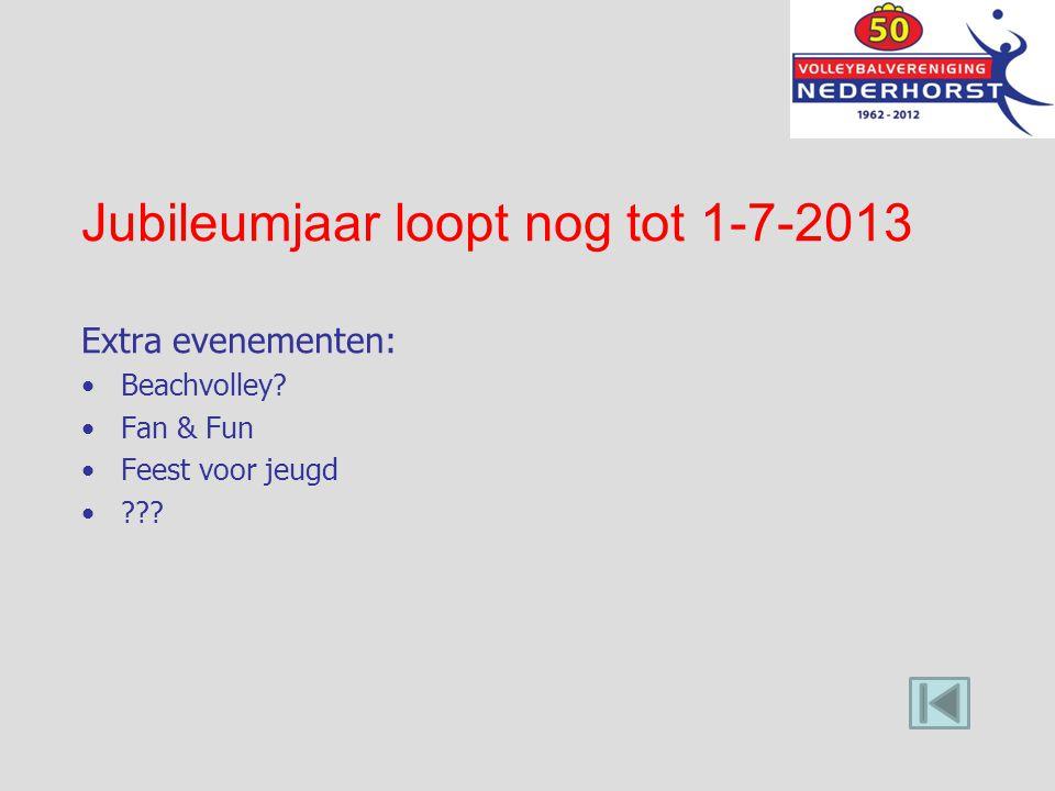 Jubileumjaar loopt nog tot 1-7-2013 Extra evenementen: Beachvolley? Fan & Fun Feest voor jeugd ???