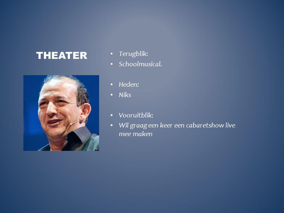 Terugblik: Schoolmusical. Heden: Niks Vooruitblik: Wil graag een keer een cabaretshow live mee maken THEATER
