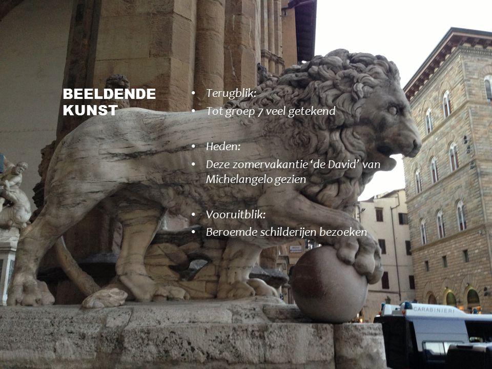 Terugblik: Tot groep 7 veel getekend Heden: Deze zomervakantie 'de David' van Michelangelo gezien Vooruitblik: Beroemde schilderijen bezoeken BEELDEND