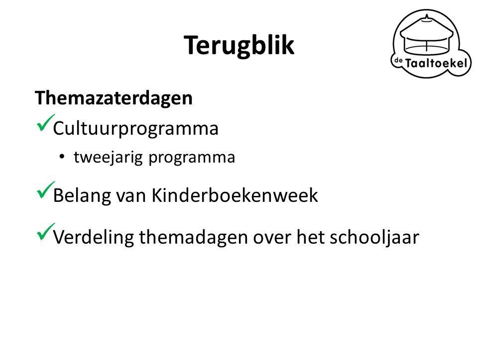 Terugblik Themazaterdagen Cultuurprogramma tweejarig programma Belang van Kinderboekenweek Verdeling themadagen over het schooljaar