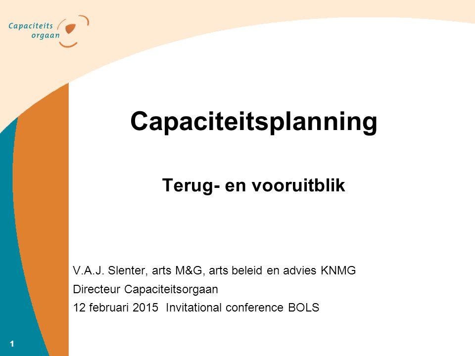 11 Capaciteitsplanning Terug- en vooruitblik V.A.J. Slenter, arts M&G, arts beleid en advies KNMG Directeur Capaciteitsorgaan 12 februari 2015 Invitat