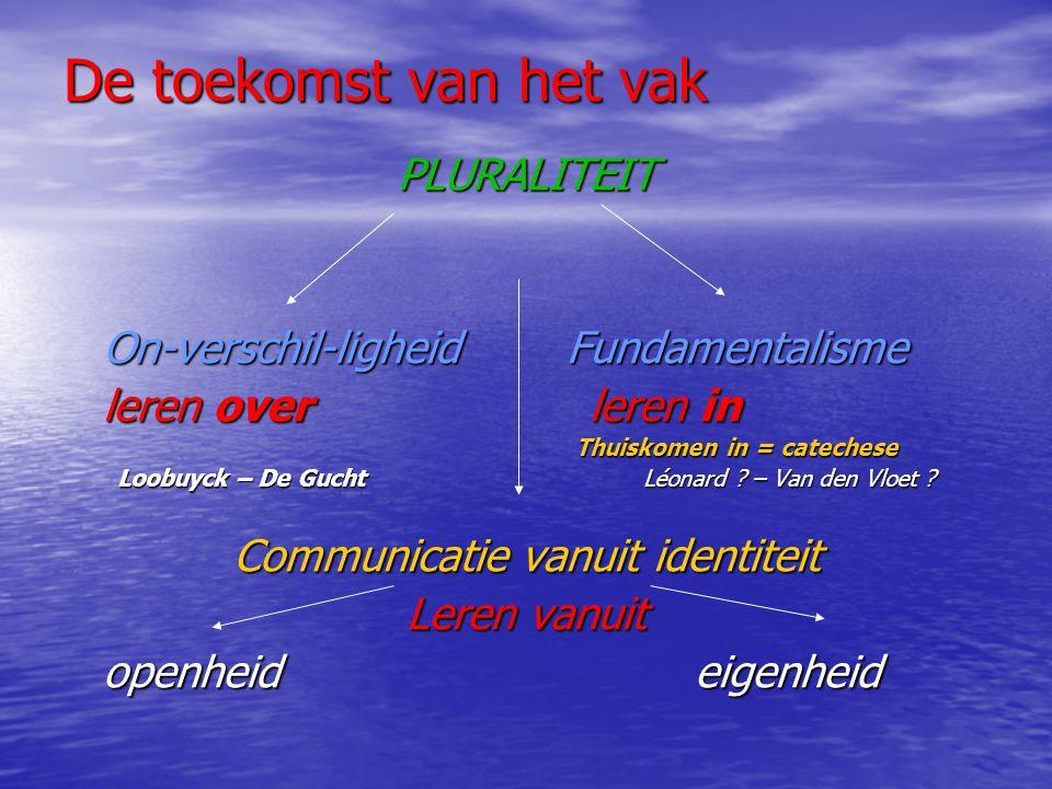 De toekomst van het vak PLURALITEIT On-verschil-ligheid Fundamentalisme leren overleren in Thuiskomen in = catechese Loobuyck – De Gucht Léonard .
