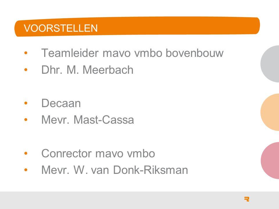VOORSTELLEN Teamleider mavo vmbo bovenbouw Dhr. M. Meerbach Decaan Mevr. Mast-Cassa Conrector mavo vmbo Mevr. W. van Donk-Riksman