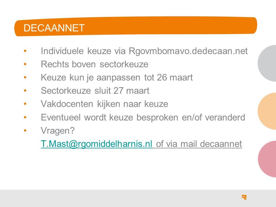 DECAANNET Individuele keuze via Rgovmbomavo.dedecaan.net Rechts boven sectorkeuze Keuze kun je aanpassen tot 26 maart Sectorkeuze sluit 27 maart Vakdo