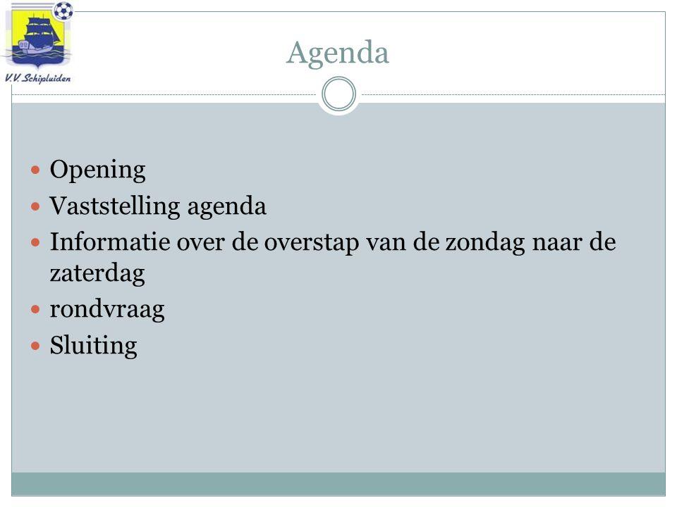 Agenda Opening Vaststelling agenda Informatie over de overstap van de zondag naar de zaterdag rondvraag Sluiting