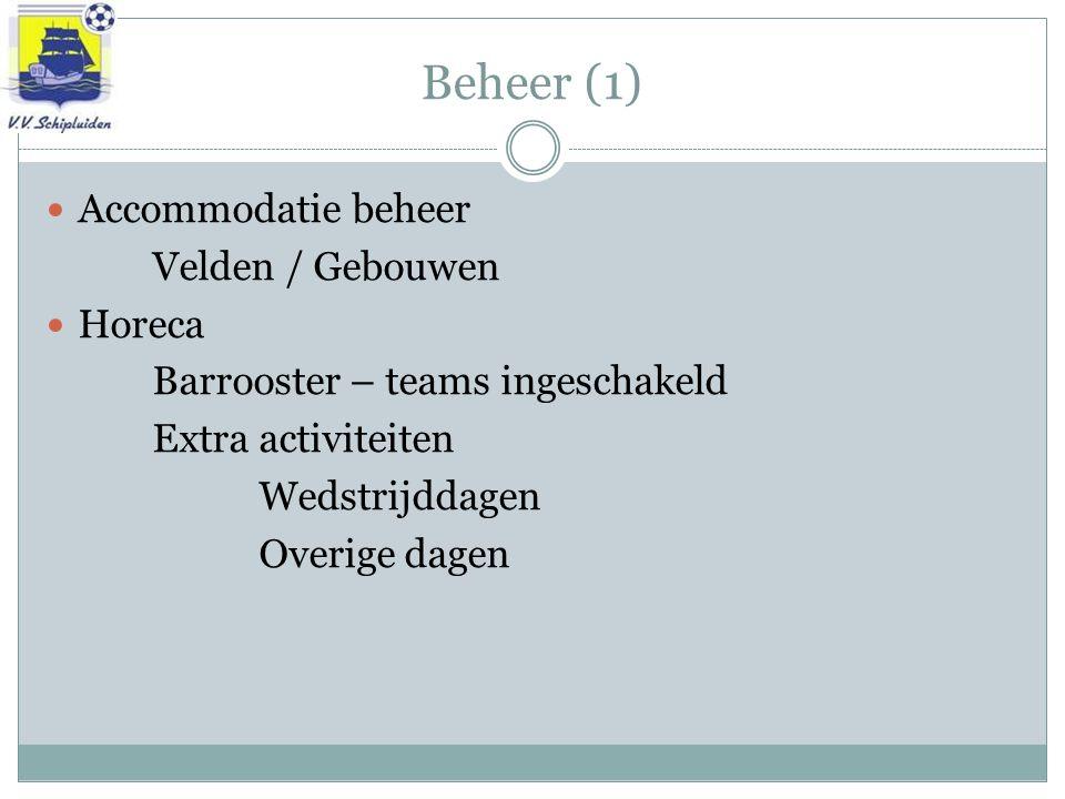 Beheer (1) Accommodatie beheer Velden / Gebouwen Horeca Barrooster – teams ingeschakeld Extra activiteiten Wedstrijddagen Overige dagen