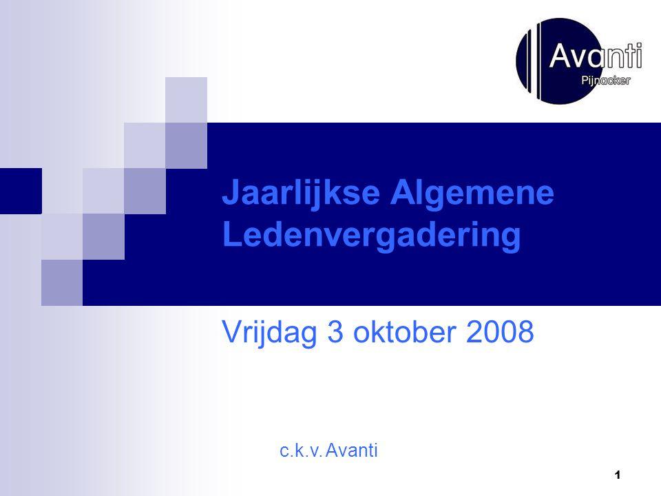1 Jaarlijkse Algemene Ledenvergadering Vrijdag 3 oktober 2008 c.k.v. Avanti