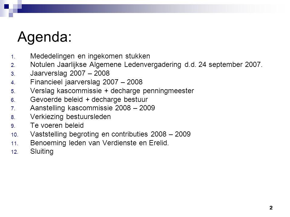 2 Agenda: 1. Mededelingen en ingekomen stukken 2. Notulen Jaarlijkse Algemene Ledenvergadering d.d. 24 september 2007. 3. Jaarverslag 2007 – 2008 4. F