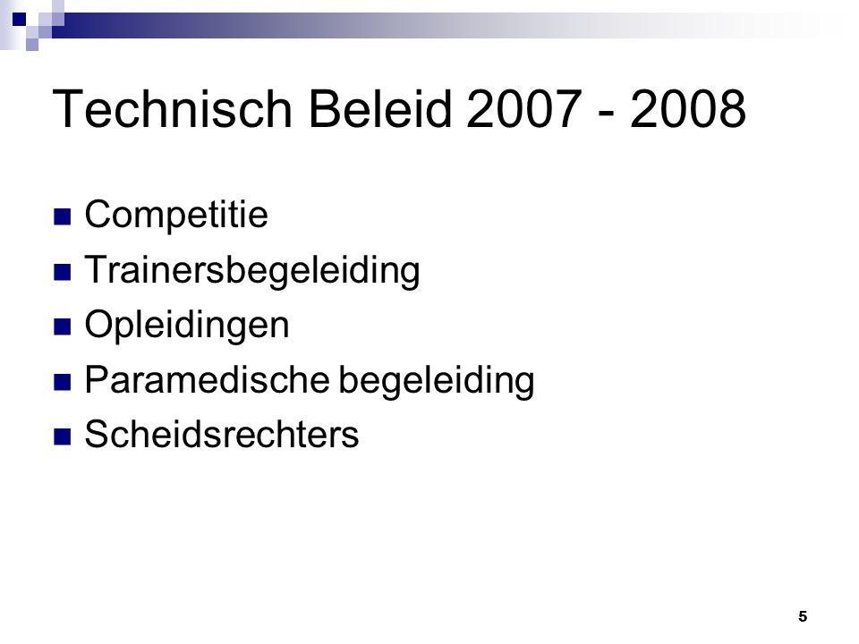 5 Technisch Beleid 2007 - 2008 Competitie Trainersbegeleiding Opleidingen Paramedische begeleiding Scheidsrechters