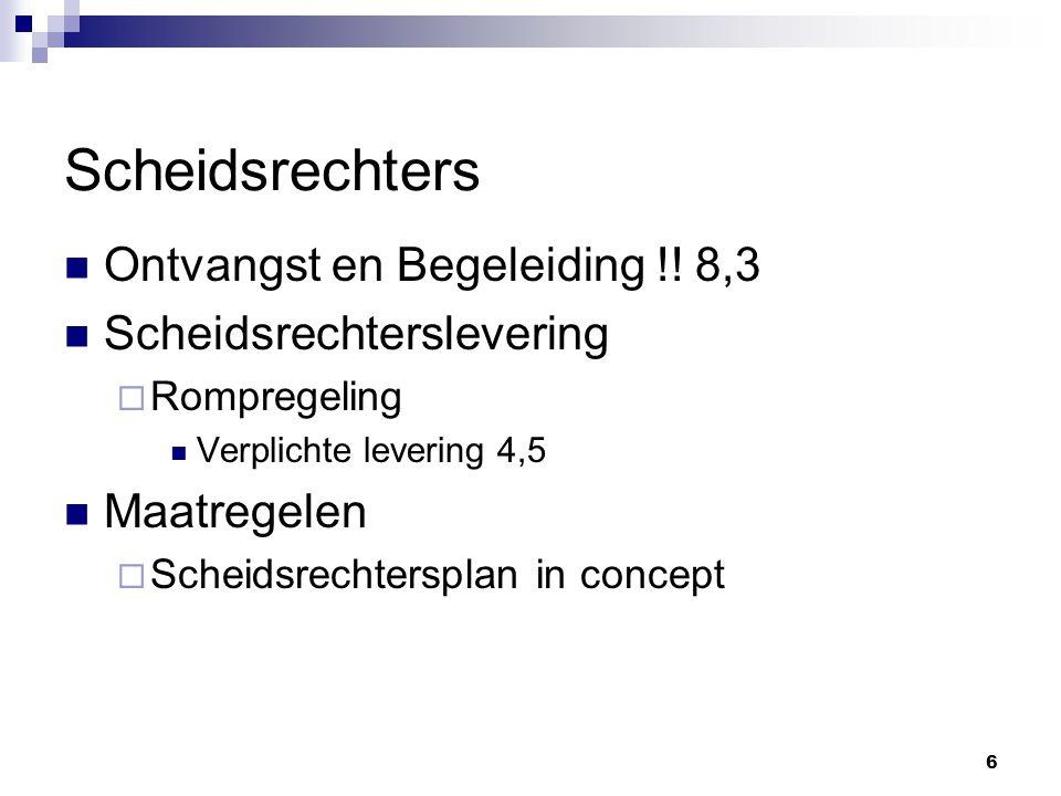 6 Ontvangst en Begeleiding !! 8,3 Scheidsrechterslevering  Rompregeling Verplichte levering 4,5 Maatregelen  Scheidsrechtersplan in concept