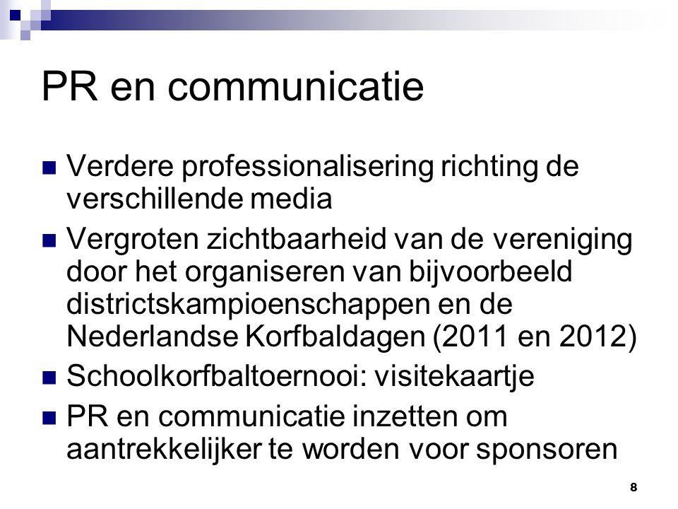 8 PR en communicatie Verdere professionalisering richting de verschillende media Vergroten zichtbaarheid van de vereniging door het organiseren van bi