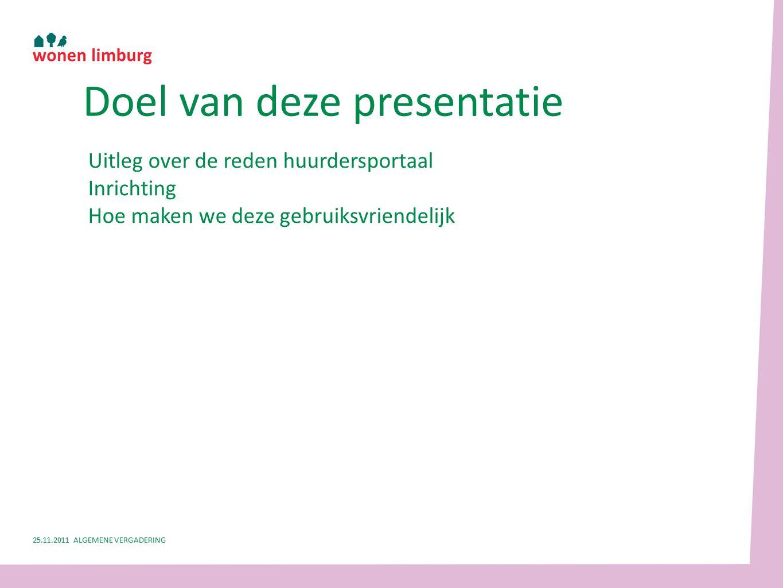 Uitleg over de reden huurdersportaal Inrichting Hoe maken we deze gebruiksvriendelijk Doel van deze presentatie 25.11.2011 ALGEMENE VERGADERING