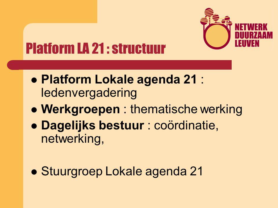 Platform LA 21 : structuur Platform Lokale agenda 21 : ledenvergadering Werkgroepen : thematische werking Dagelijks bestuur : coördinatie, netwerking, Stuurgroep Lokale agenda 21