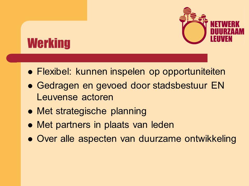 Werking Flexibel: kunnen inspelen op opportuniteiten Gedragen en gevoed door stadsbestuur EN Leuvense actoren Met strategische planning Met partners in plaats van leden Over alle aspecten van duurzame ontwikkeling