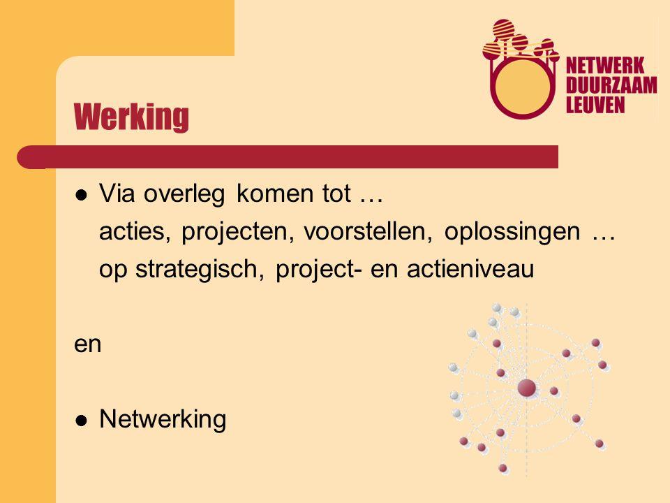 Werking Via overleg komen tot … acties, projecten, voorstellen, oplossingen … op strategisch, project- en actieniveau en Netwerking
