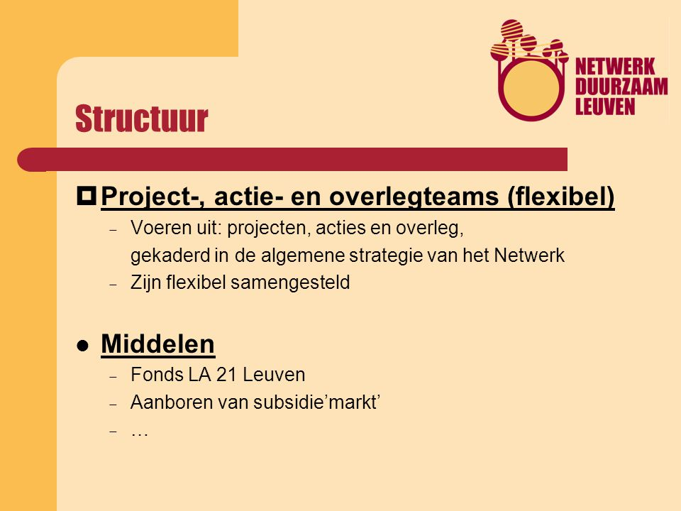 Structuur  Project-, actie- en overlegteams (flexibel)  Voeren uit: projecten, acties en overleg, gekaderd in de algemene strategie van het Netwerk  Zijn flexibel samengesteld Middelen  Fonds LA 21 Leuven  Aanboren van subsidie'markt'  …