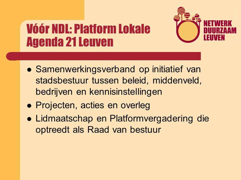 Vóór NDL: Platform Lokale Agenda 21 Leuven Samenwerkingsverband op initiatief van stadsbestuur tussen beleid, middenveld, bedrijven en kennisinstellingen Projecten, acties en overleg Lidmaatschap en Platformvergadering die optreedt als Raad van bestuur