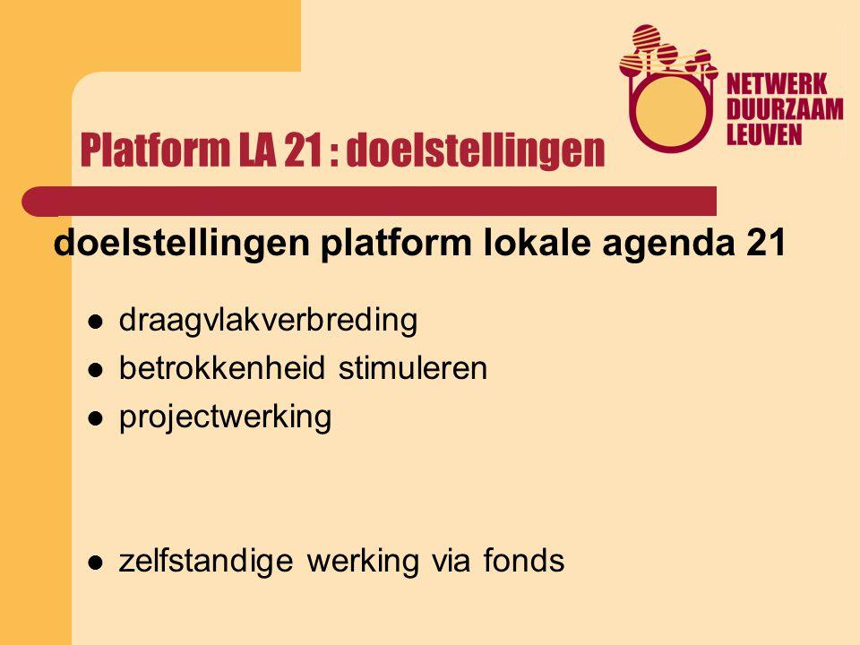 Platform LA 21 : doelstellingen doelstellingen platform lokale agenda 21 draagvlakverbreding betrokkenheid stimuleren projectwerking zelfstandige werking via fonds