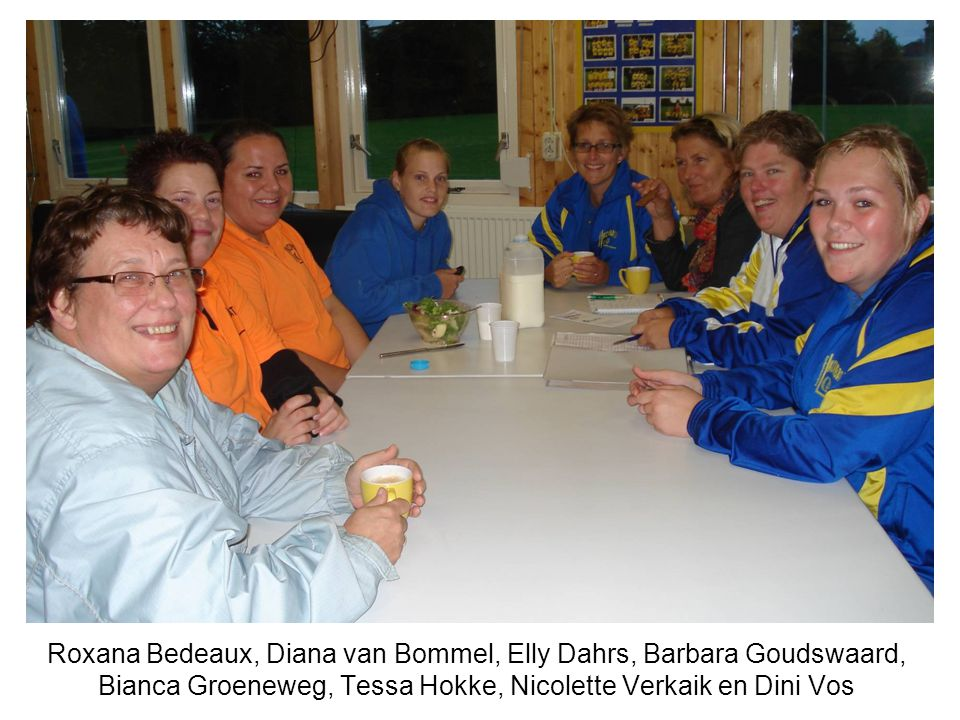 Roxana Bedeaux, Diana van Bommel, Elly Dahrs, Barbara Goudswaard, Bianca Groeneweg, Tessa Hokke, Nicolette Verkaik en Dini Vos