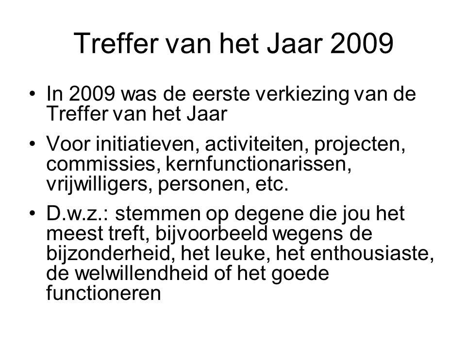 Treffer van het Jaar 2009 In 2009 was de eerste verkiezing van de Treffer van het Jaar Voor initiatieven, activiteiten, projecten, commissies, kernfunctionarissen, vrijwilligers, personen, etc.