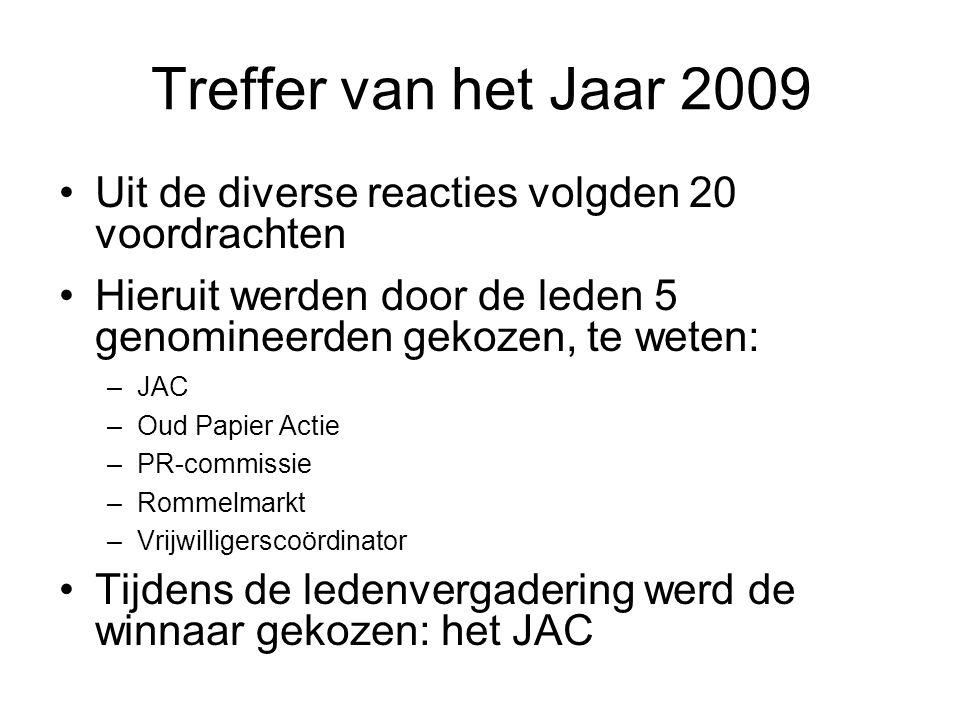 Treffer van het Jaar 2009 Uit de diverse reacties volgden 20 voordrachten Hieruit werden door de leden 5 genomineerden gekozen, te weten: –JAC –Oud Papier Actie –PR-commissie –Rommelmarkt –Vrijwilligerscoördinator Tijdens de ledenvergadering werd de winnaar gekozen: het JAC