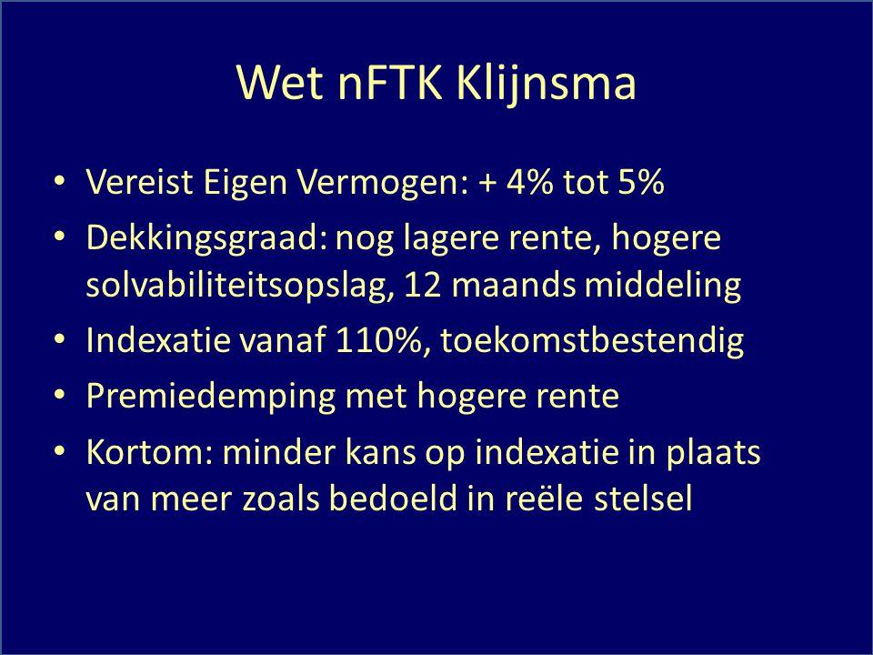 Wet nFTK Klijnsma Vereist Eigen Vermogen: + 4% tot 5% Dekkingsgraad: nog lagere rente, hogere solvabiliteitsopslag, 12 maands middeling Indexatie vana
