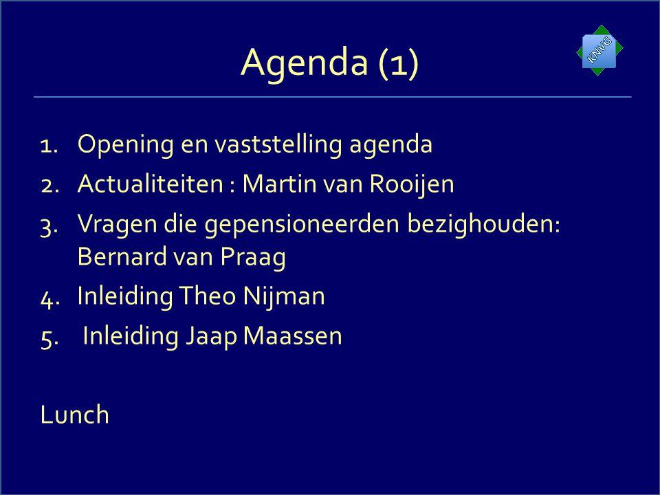 Agenda (2) 6.Vaststelling onderwerpen en discussie 7.