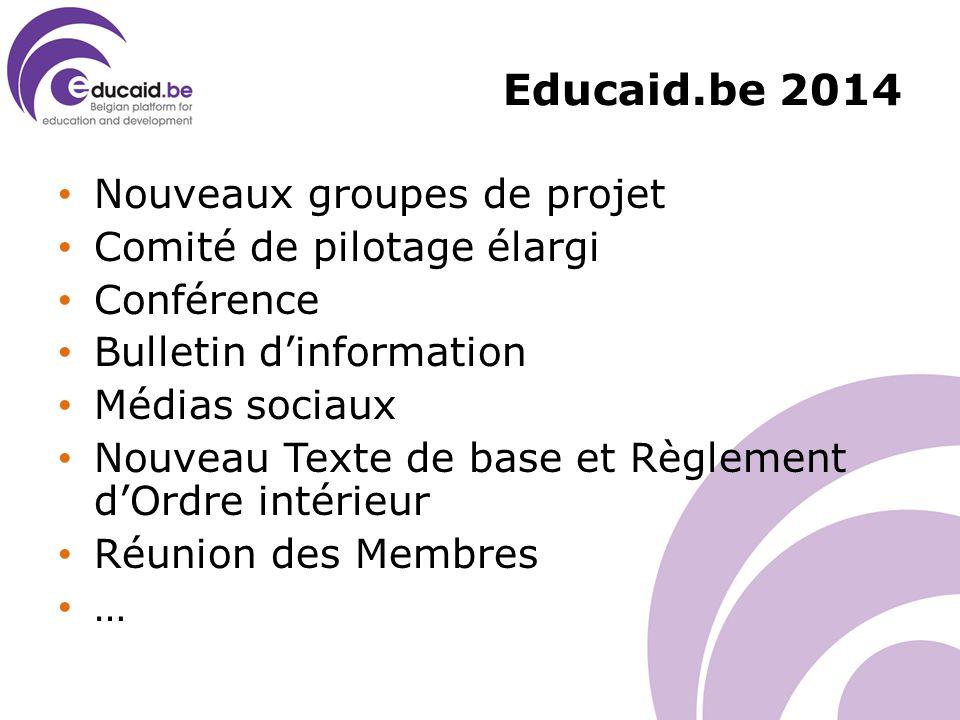Educaid.be 2014 Nouveaux groupes de projet Comité de pilotage élargi Conférence Bulletin d'information Médias sociaux Nouveau Texte de base et Règlement d'Ordre intérieur Réunion des Membres …