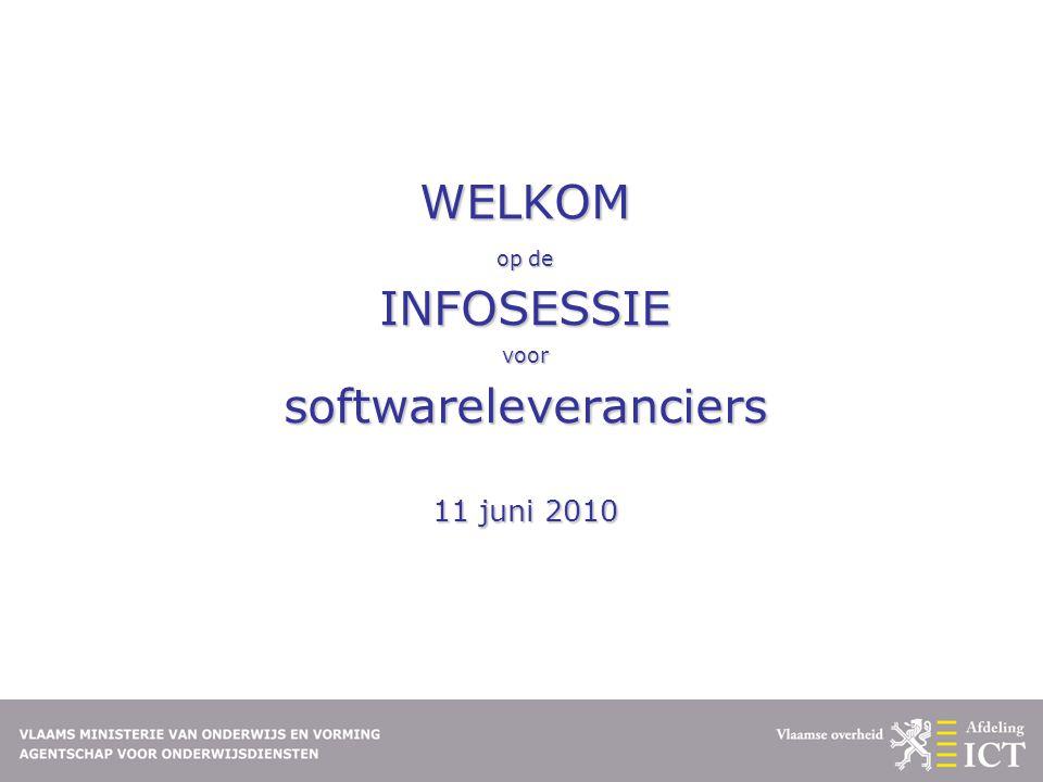 WELKOM op de INFOSESSIE voor softwareleveranciers 11 juni 2010