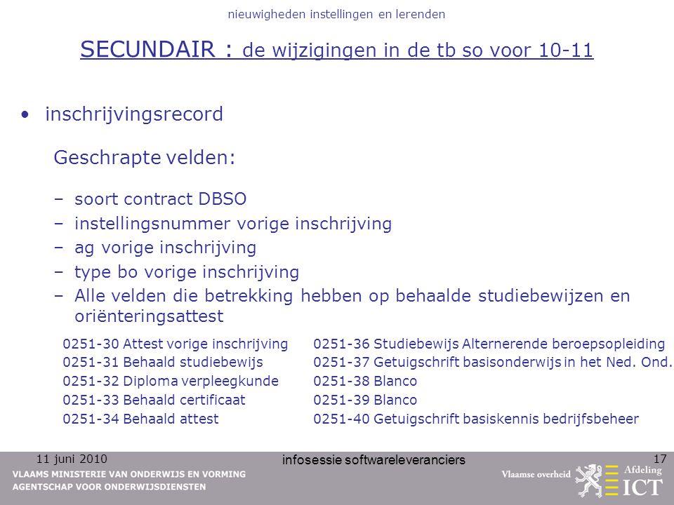 11 juni 2010 infosessie softwareleveranciers 17 nieuwigheden instellingen en lerenden SECUNDAIR : de wijzigingen in de tb so voor 10-11 inschrijvingsr