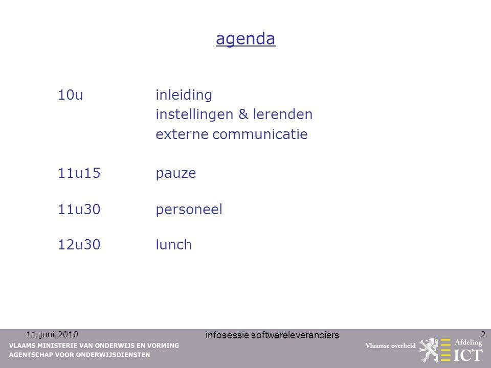11 juni 2010 infosessie softwareleveranciers 3 inleiding inleiding Lieve Van Leuven, afdelingshoofd ICT AgODi
