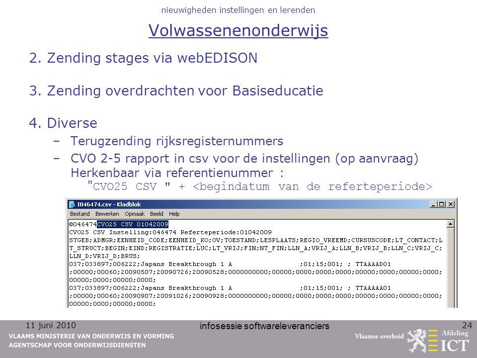 11 juni 2010 infosessie softwareleveranciers 24 nieuwigheden instellingen en lerenden Volwassenenonderwijs 2. Zending stages via webEDISON 3. Zending