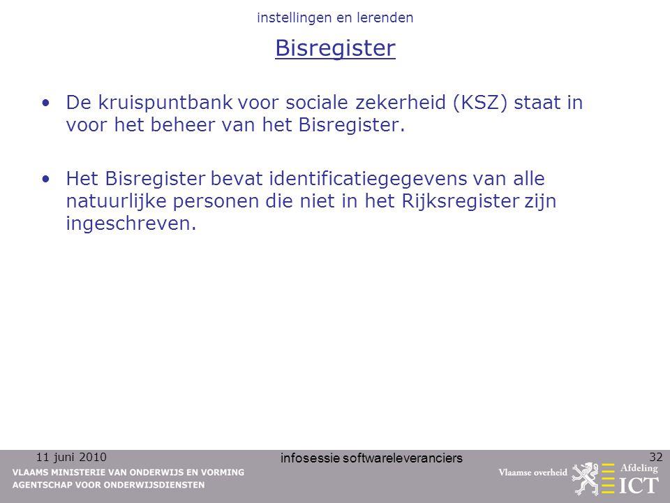 11 juni 2010 infosessie softwareleveranciers 32 instellingen en lerenden Bisregister De kruispuntbank voor sociale zekerheid (KSZ) staat in voor het b