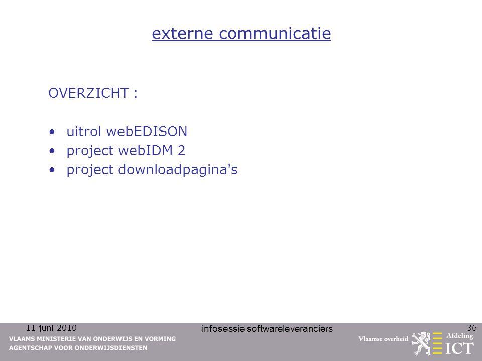 11 juni 2010 infosessie softwareleveranciers 36 externe communicatie OVERZICHT : uitrol webEDISON project webIDM 2 project downloadpagina's