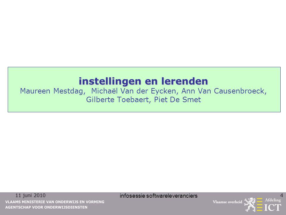 11 juni 2010 infosessie softwareleveranciers 4 instellingen en lerenden instellingen en lerenden Maureen Mestdag, Michaël Van der Eycken, Ann Van Caus