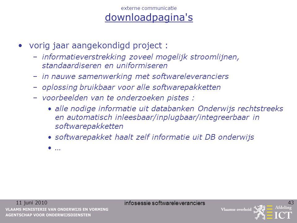 11 juni 2010 infosessie softwareleveranciers 43 externe communicatie downloadpagina's vorig jaar aangekondigd project : –informatieverstrekking zoveel