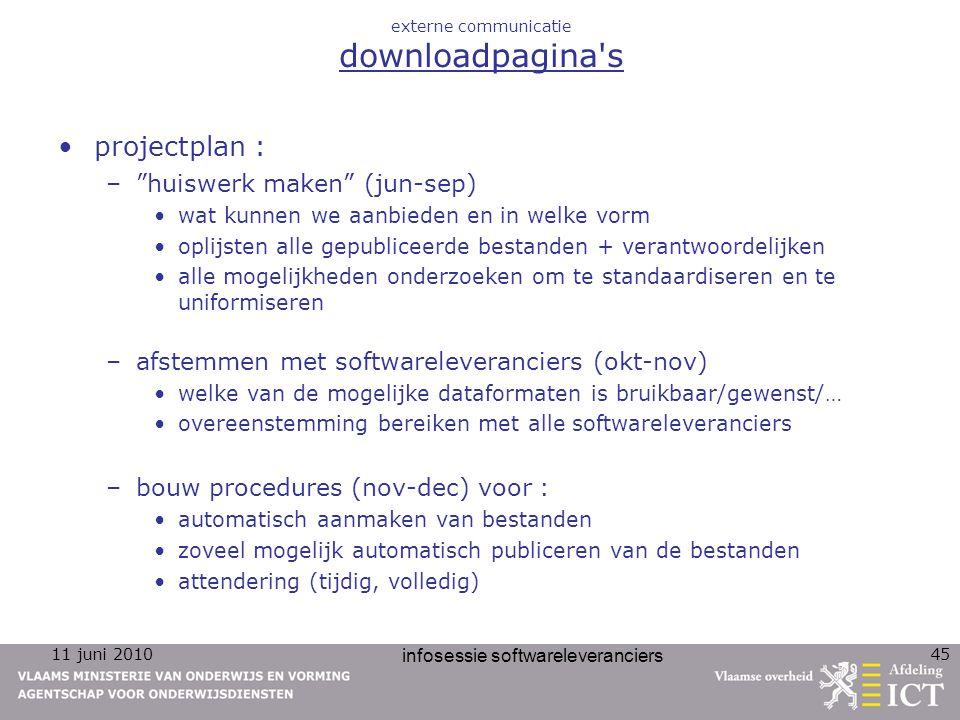 """11 juni 2010 infosessie softwareleveranciers 45 externe communicatie downloadpagina's projectplan : –""""huiswerk maken"""" (jun-sep) wat kunnen we aanbiede"""