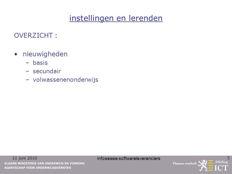 11 juni 2010 infosessie softwareleveranciers 5 instellingen en lerenden OVERZICHT : nieuwigheden –basis –secundair –volwassenenonderwijs