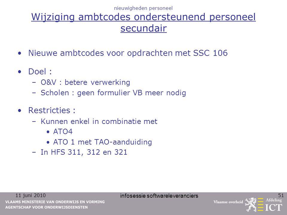 11 juni 2010 infosessie softwareleveranciers 51 nieuwigheden personeel Wijziging ambtcodes ondersteunend personeel secundair Nieuwe ambtcodes voor opd