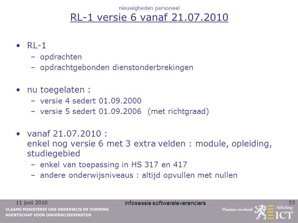 11 juni 2010 infosessie softwareleveranciers 53 nieuwigheden personeel RL-1 versie 6 vanaf 21.07.2010 RL-1 –opdrachten –opdrachtgebonden dienstonderbr