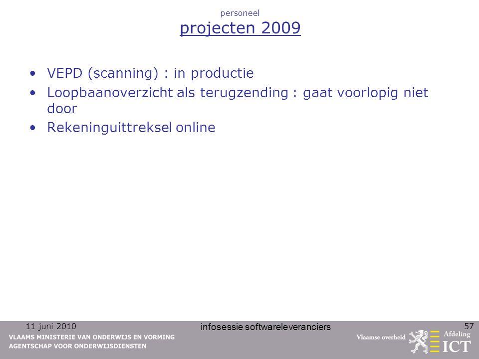 11 juni 2010 infosessie softwareleveranciers 57 personeel projecten 2009 VEPD (scanning) : in productie Loopbaanoverzicht als terugzending : gaat voorlopig niet door Rekeninguittreksel online