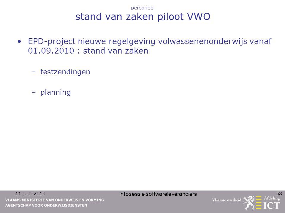 11 juni 2010 infosessie softwareleveranciers 58 personeel stand van zaken piloot VWO EPD-project nieuwe regelgeving volwassenenonderwijs vanaf 01.09.2010 : stand van zaken –testzendingen –planning