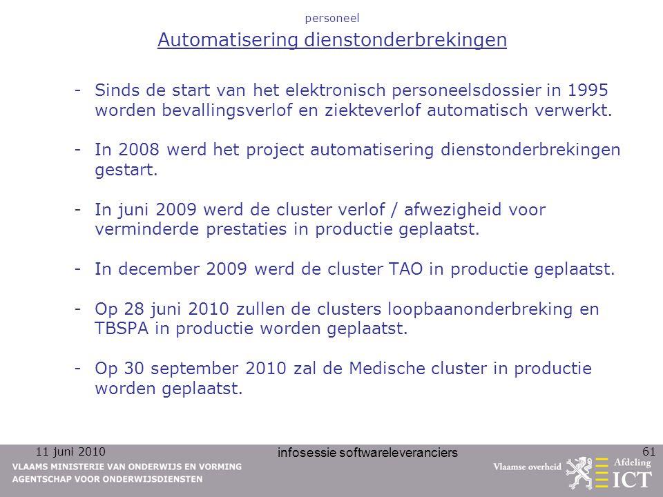 11 juni 2010 infosessie softwareleveranciers 61 personeel Automatisering dienstonderbrekingen -Sinds de start van het elektronisch personeelsdossier i