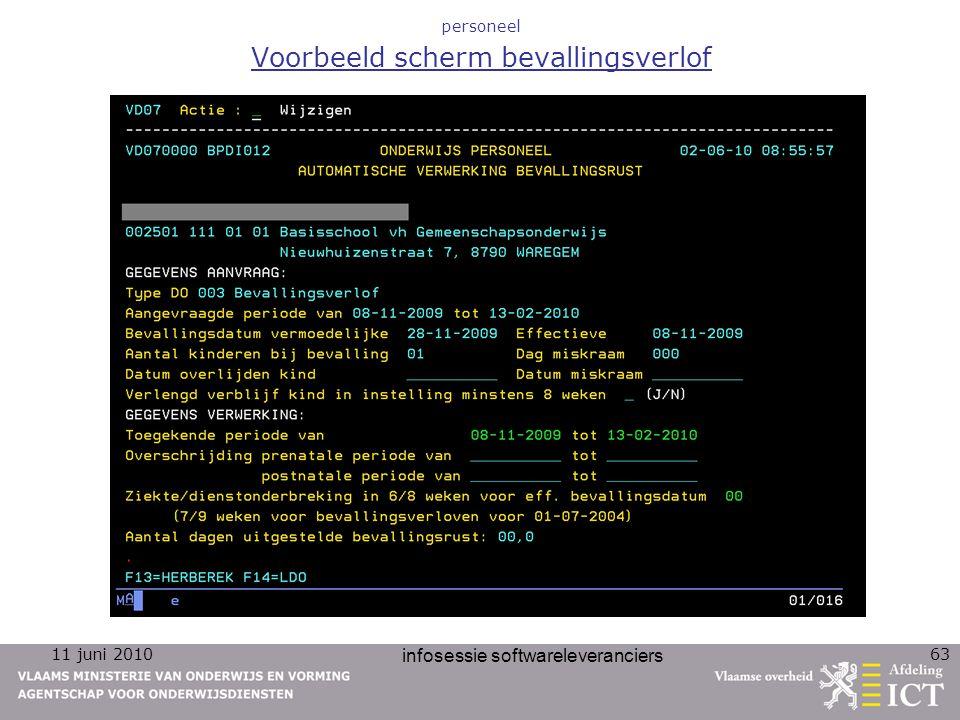 11 juni 2010 infosessie softwareleveranciers 63 personeel Voorbeeld scherm bevallingsverlof